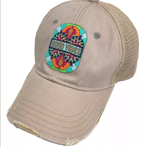 17dc88e1e GOOD VIBES Trucker Hat JUDITH MARCH PATCH Khaki Boutique